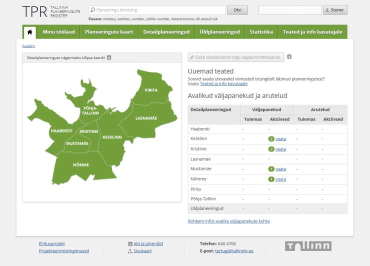 Tallinna planeeringute registri uus lahendus nüüd kõigile kättesaadav