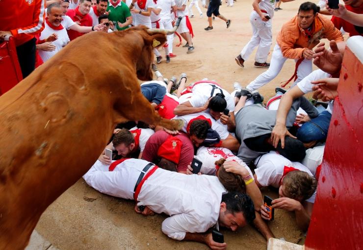 FOTOD! Pamplona härjajooksus sai kaks inimest puskida