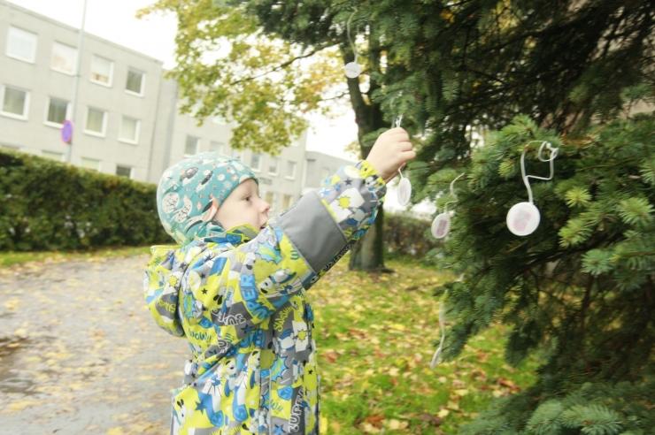 FOTOD! Tallinna Kristiine linnaosas avati taas suur helkuripuu