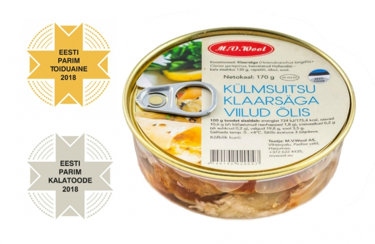 Eesti Parim Toiduaine 2018 on M.V.Wooli Külmsuitsu klaarsäga viilud õlis