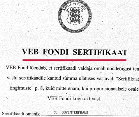 Võimuliidus pole VEB Fondi sertifikaadiomanikele maksmises üksmeelt