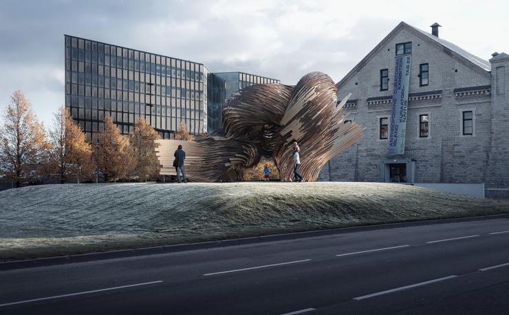 """Rahvusvaheline arhitektide seltskond püstitab Tallinna kesklinna TAB 2019 raames hiiglasliku """"hüti"""""""
