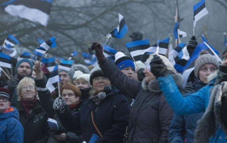 Homse iseseisvuspäeva puhul on Eesti ehitud sinimustvalgete lippudega