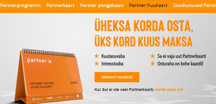 Partnerkaarti saab kolmapäevast kasutada ostude eest tasumisel